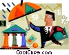 Businessman with umbrella and money Vector Clipart image