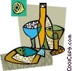 Vector Clipart picture  of a Seafood dinner with wine and