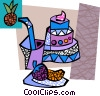 Triple layer cake with drink and berries Vector Clip Art picture