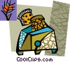 Vector Clipart picture  of a Toaster with bread and wheat