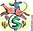 cowboy on horseback with dollar sign cactus Vector Clipart graphic