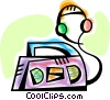 Portable stereo with headphones Vector Clip Art image