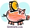 Vector Clip Art graphic  of a Piggy bank with change