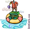 Businessman standing on money and life preserver Vector Clip Art picture
