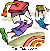 Business people parachuting with mortar boards Vector Clip Art graphic