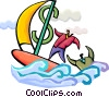 Businessman sailing with financial rescue Vector Clipart illustration