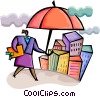 Businesswoman with Insurance umbrella Vector Clip Art picture