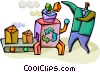 Vector Clip Art graphic  of a Recycle Machine