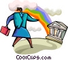 Businesswoman with bank and rainbow Vector Clipart image