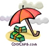 Stacks of dollars with umbrella Vector Clipart image