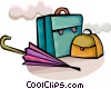 Umbrella with briefcase and purse Vector Clipart illustration