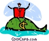 Vector Clip Art image  of a Businessman on whale with