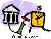 Vector Clip Art graphic  of a man with air pump and bank