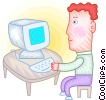 Vector Clipart illustration  of a Man checking his e-mail