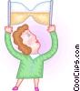 Vector Clip Art image  of a Woman holding hourglass
