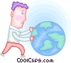 Vector Clip Art image  of a Man with planet earth