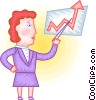 Vector Clip Art image  of a Woman charting success