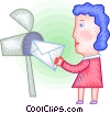 Vector Clip Art picture  of a Woman getting a letter from