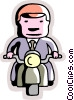 Businessman riding his motorcycle Vector Clipart graphic