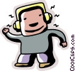 Vector Clip Art picture  of a Boy listening to music