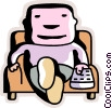 Man relaxing at home in his chair watching tv Vector Clip Art picture