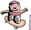 Boy on his skateboard Vector Clipart graphic
