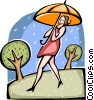 Woman caught in the rain Vector Clip Art picture