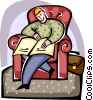 Vector Clip Art graphic  of a Man sleeping in chair with