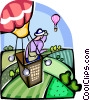 Hot Air Balloon flying over the country side Vector Clip Art image