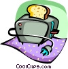 Vector Clip Art graphic  of a Toaster with bread