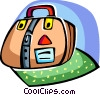 Suitcase with belt and travel stickers Vector Clip Art picture