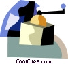 Vector Clip Art graphic  of a Coffee grinder with bag of