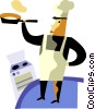 Chefs flipping pancakes in kitchen Vector Clipart illustration