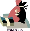 Vector Clip Art image  of a Money bag with bundled cash