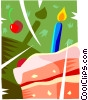 Birthday cake with candles and cherry Vector Clipart image