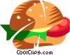 Tomato sandwich with lettuce Vector Clip Art picture