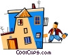 Businessman coming home after work Vector Clip Art picture