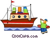 Boy with telescope watching ship go by Vector Clipart graphic