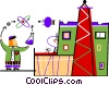 Scientist performing research at work Vector Clipart illustration