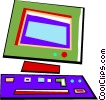 Vector Clip Art image  of a Computer workstation