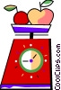 Food scale with apples and plums Vector Clip Art picture