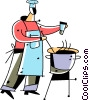 Chef adding spices to sauce Vector Clipart illustration