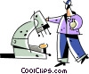 Scientist with microscope and beaker Vector Clipart illustration