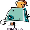 Vector Clip Art picture  of a Toaster with bread