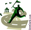 Vector Clipart illustration  of a Financial concept man chasing