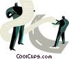 Businessmen doing paperwork Vector Clip Art picture