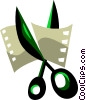 Scissors cutting film Vector Clipart illustration