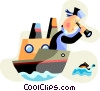 Vector Clipart graphic  of a Commercial fisherman looking