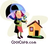 Woman with umbrella and flower at her house Vector Clipart image