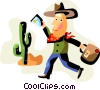 Man dressed as cowboy in the desert Vector Clipart illustration